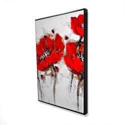 Framed 24 x 36 - 3D - Red poppies with texture