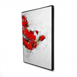Framed 24 x 36 - 3D - Abstract red flowers with texture