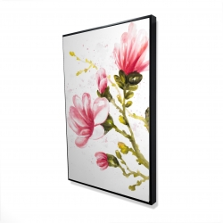 Framed 24 x 36 - 3D - Watercolor magnolia flowers