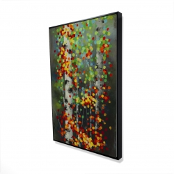 Framed 24 x 36 - 3D - Colorful dotted leaves birches