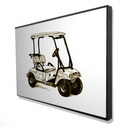 Framed 24 x 36 - 3D - Illustration of a golf cart
