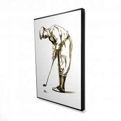 Framed 24 x 36 - 3D - Illustration of a concentrated golfer