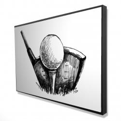 Framed 24 x 36 - 3D - Golf ball black and white