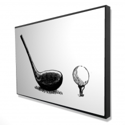 Framed 24 x 36 - 3D - Illustration of a golf club bw