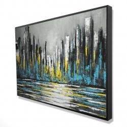 Framed 24 x 36 - 3D - Abstract blue skyline