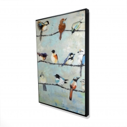Framed 24 x 36 - 3D - Small colorful birds