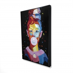 Framed 24 x 36 - 3D - Colorful audrey hepburn portrait with bubblegum