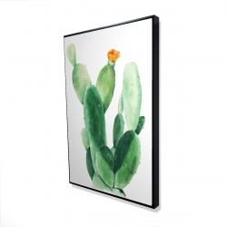 Framed 24 x 36 - 3D - Watercolor paddle cactus with flower
