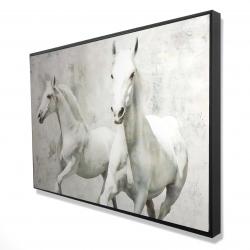 Framed 24 x 36 - 3D - Two white horses running