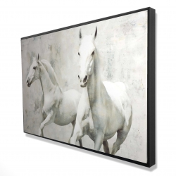 Framed 24 x 36 - 3D - Two white horse running