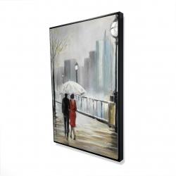 Framed 24 x 36 - 3D - Couple walking under the rain
