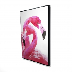 Framed 24 x 36 - 3D - Watercolor flamingo love
