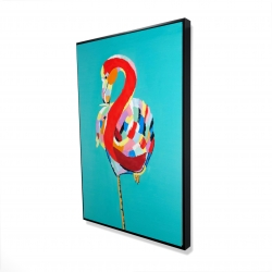 Framed 24 x 36 - 3D - Colorful flamingo
