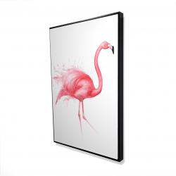 Framed 24 x 36 - 3D - Pink flamingo watercolor
