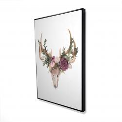 Framed 24 x 36 - 3D - Deer skull with flowers
