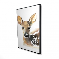 Framed 24 x 36 - 3D - Watercolor fawn face