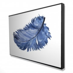 Framed 24 x 36 - 3D - Watercolor blue feather