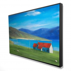 Framed 24 x 36 - 3D - Scottish highlands with a little red roof house