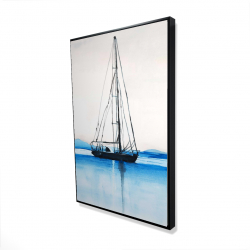 Framed 24 x 36 - 3D - Sailboat on a calm water
