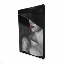 Framed 24 x 36 - 3D - Mysterious woman with a hat