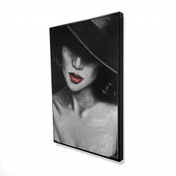 Framed 24 x 36 - 3D - Mysterious red lips lady