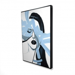 Framed 24 x 36 - 3D - Abstract blue woman portrait