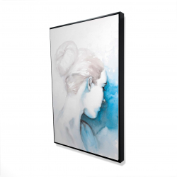 Framed 24 x 36 - 3D - Watercolor abstract girl with hair bun
