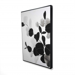 Framed 24 x 36 - 3D - Grayscale branches with leaves