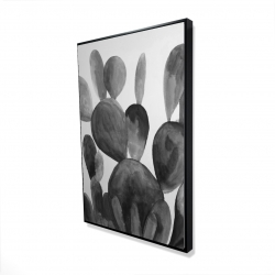 Framed 24 x 36 - 3D - Grayscale paddle cactus plant