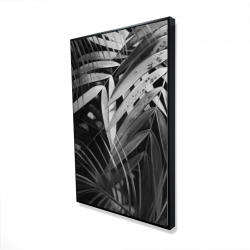 Framed 24 x 36 - 3D - Monochrome tropicals leaves