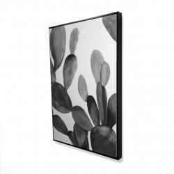 Framed 24 x 36 - 3D - Grayscale cactus