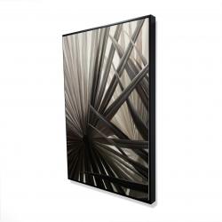 Framed 24 x 36 - 3D - Grayscale tropical plants