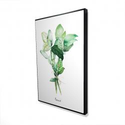 Framed 24 x 36 - 3D - Tied up basil leaves bundle - en