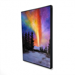 Framed 24 x 36 - 3D - Aurora borealis in the forest