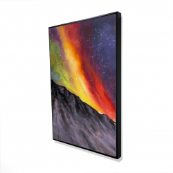 Framed 24 x 36 - 3D - Aurora borealis in the mountain