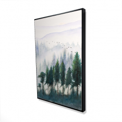 Framed 24 x 36 - 3D - Mountains landscape in watercolor
