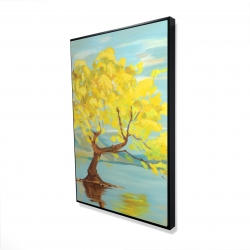 Framed 24 x 36 - 3D - Spring lanscape with a tree in a lake