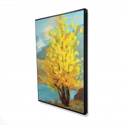 Framed 24 x 36 - 3D - Lake landscape with a tree and reflection