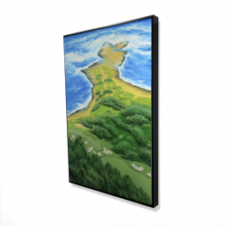 Framed 24 x 36 - 3D - Island overhead view with waves