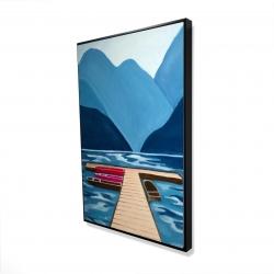 Framed 24 x 36 - 3D - Lake, quai & mountains