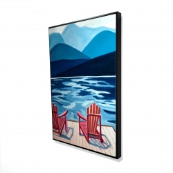Framed 24 x 36 - 3D - Lake, dock, mountains & chairs