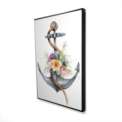 Framed 24 x 36 - 3D - Boat anchor with flowers