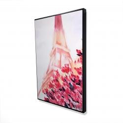 Framed 24 x 36 - 3D - Pink eiffel tower