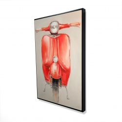 Framed 24 x 36 - 3D - Small red moped
