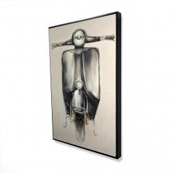 Framed 24 x 36 - 3D - Small black moped