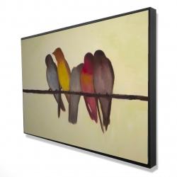 Framed 24 x 36 - 3D - Five birds on a branch