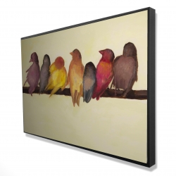Framed 24 x 36 - 3D - Bird family
