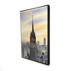 Framed 24 x 36 - 3D - Sunset over new york city