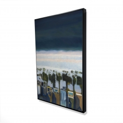Framed 24 x 36 - 3D - Bird's eye view of beach