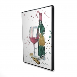 Framed 24 x 36 - 3D - Bottle of red wine